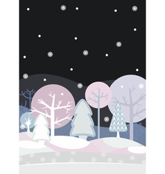 Night Forest Winter vector image