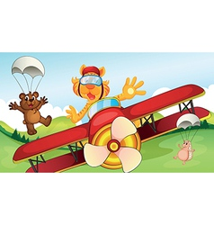 Animals and airplane vector image vector image