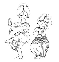 dancing Indian girls vector image