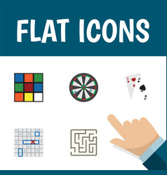 flat icon play set of cube sea fight ace and vector image vector image