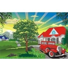 landscape - a retro car outdoors vector image vector image
