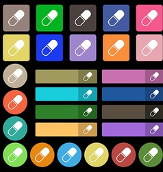 pill icon sign Set from twenty seven multicolored vector image vector image