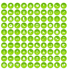 100 shoe icons set green circle vector