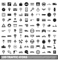 100 traffic icons set simple style vector image