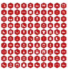 100 vogue icons hexagon red vector