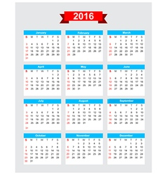 2016 calendar week start sunday 001 vector