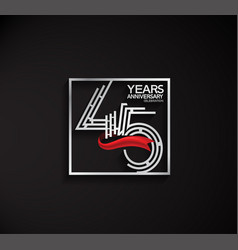 45 years anniversary logotype with square silver vector