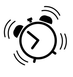 Alarm clock ringing icon in black vector