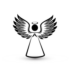 Angel silhouette icon vector