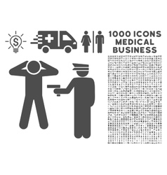 Arrest Icon with 1000 Medical Business Pictograms vector