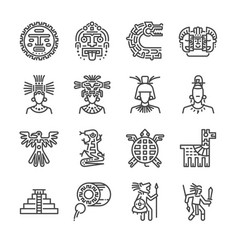 Aztec icon set vector