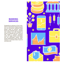 Banking services banner in colored line style vector
