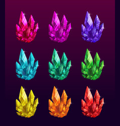 beautiful colorful crystals set ruemerald vector image