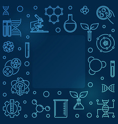 biological engineering outline blue square vector image