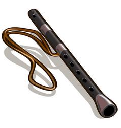 black flute isolated on white background vector image