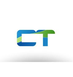 Blue green ct c t alphabet letter logo vector