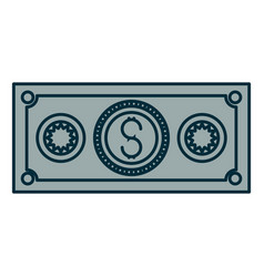 Blue shading silhouette of money bill icon vector