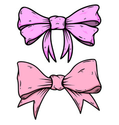 bow knot in engraving style design element vector image