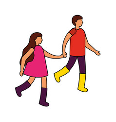 boy and girl holding hands vector image