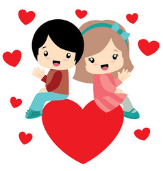 Boy and girl sitting on a heart valentine day card vector
