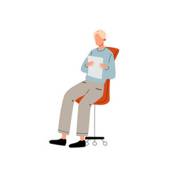businessman or office worker sitting in office vector image