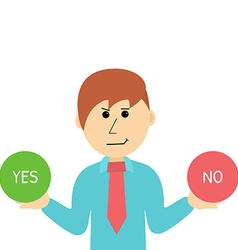 Cartoon Businessman Makes Desicion Choose Yes or vector image