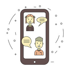 Chat talk concept via internet by smartphone vector