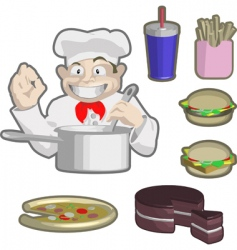 chef and food vector image vector image