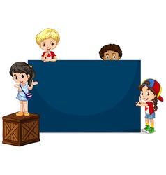 Children around the blue board vector