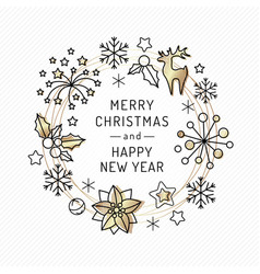 christmas card with linear icons and gold texture vector image