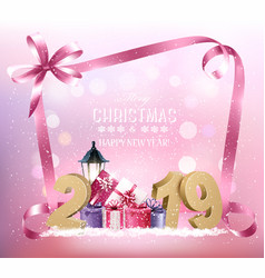christmas holiday background with 2019 and pink vector image