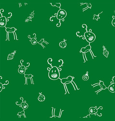 christmas seamless pattern with deer and holly vector image