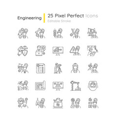 civil engineering pixel perfect linear icons set vector image