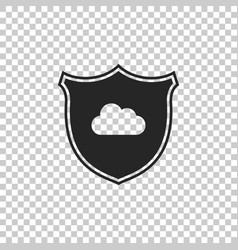 cloud and shield icon isolated on transparent vector image