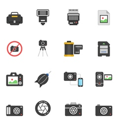 Color icon set - camera and accessory vector image