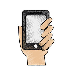 Color pencil hand holding up a smartphone vector