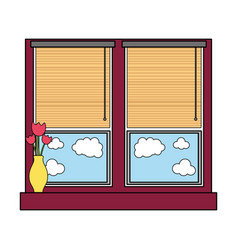 Colorful window with blind curtain and fower vector