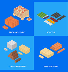 construction material poster card set isometric vector image vector image
