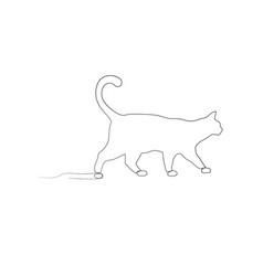 continuous one line drawing walking cat side view vector image