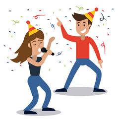 couple dancing party confetti celebration vector image