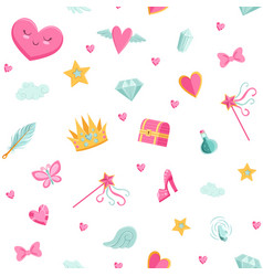 cute cartoon magic and fairytale pattern vector image
