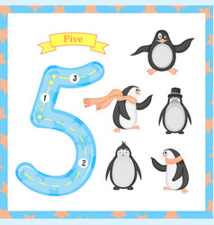 Cute children flashcard number one tracing with 5 vector