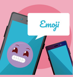cute emoji on smartphone vector image