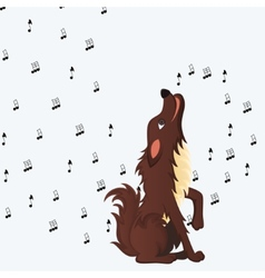 Cute fluffy cartoon dog howling vector