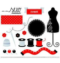 Cute sewing set design elements isolated on white vector image
