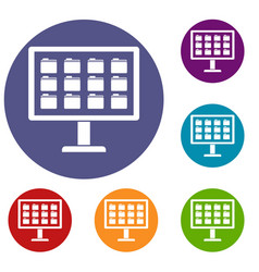 Desktop of computer with folders icons set vector