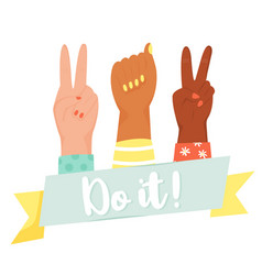 do it poster with raised fist victory fingers vector image