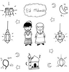 Doodle art muslim eid mubarak vector