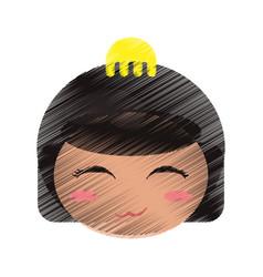 drawing cute face kokeshi vector image