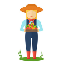 farmer woman with box of color apple vector image